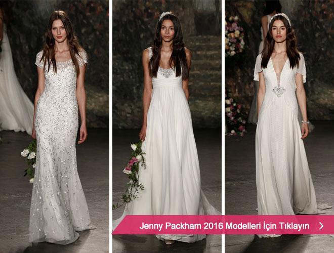 Şifon kumaşlarla minimal gelinlik modellerini yeniden tasarlayan Jenny Packham 2016 Kreasyonu.
