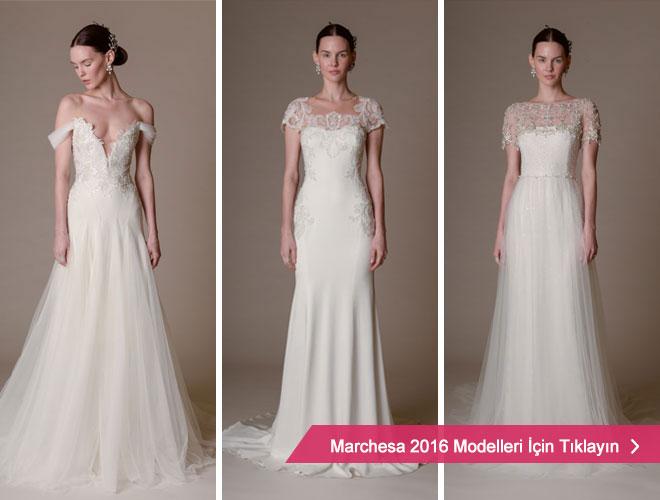 V yaka, straplez ve dantel kollu gelinlik modelleri ile Marchesa 2016 Kreasyonu.
