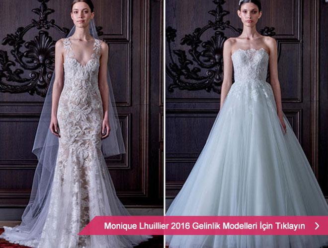 Derin yırtmaçlı, güpür kol detaylı prenses gelinlik modelleri ile Monique Lhuiller 2016 Kreasyonu.