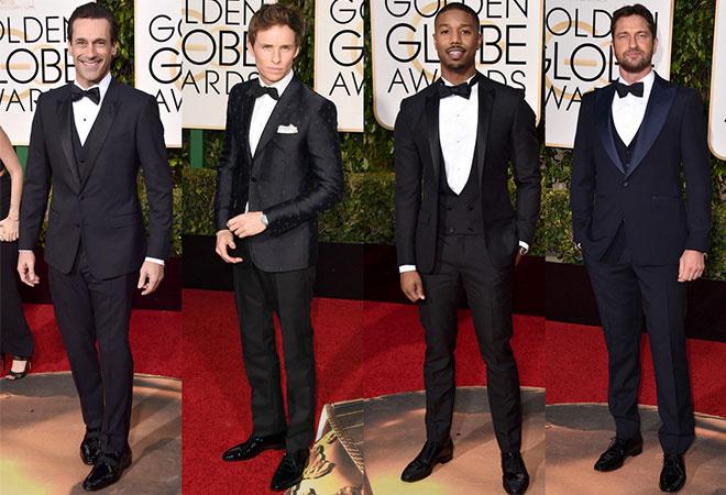 2016 damatlık modasını belirleyen 2016 Altın Küre kırmızı halı geçidinden siyah damatlık modelleri.