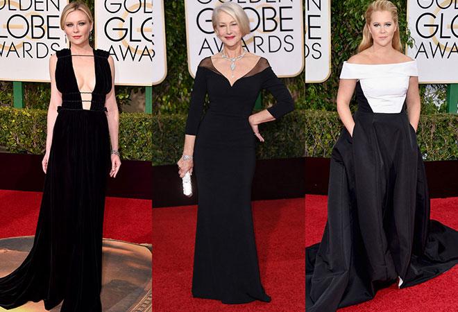 2016 Altın Küre abiye modellerinden siyah elbise örnekleri.