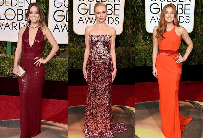 Kırmızının her tonunun hakim olduğu 2016 Altın Küre ödül töreni elbise modelleri.