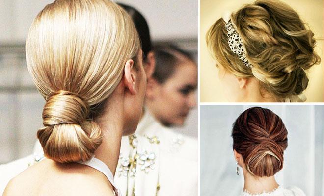 Gelin saçında 2014 yılının modası enseden topuz modelleri