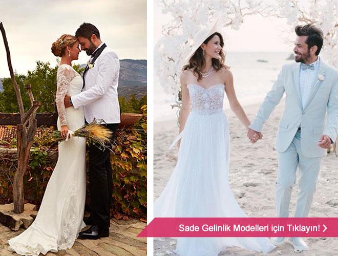 en_guzel_gelinlik - Beren Saat ve Gülben Ergen'in de tercih ettiği sade gelinlik modelleri