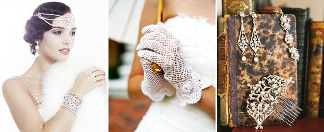 Vintage modasına uygun gelinlik aksesuarları, eldivenler,taçlar ve gelin takıları