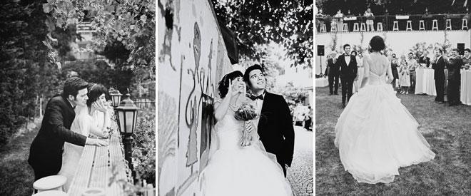 düğün mekanında gelin damat siyah beyaz fotoğraflar