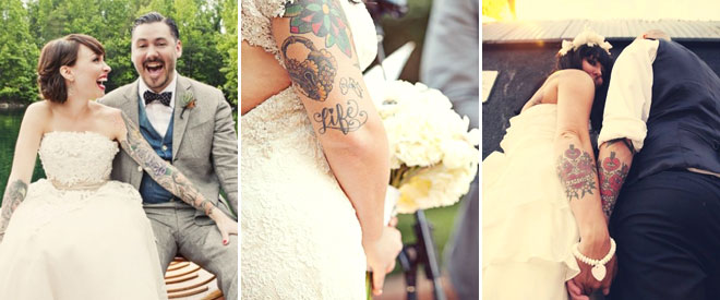 dövmeli gelinler ve düğün pozları