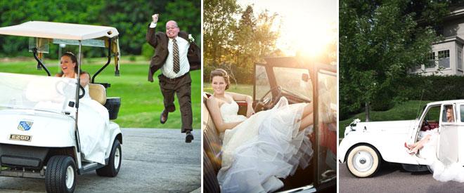 düğün arabasıyla gelinlerin ilginç pozları