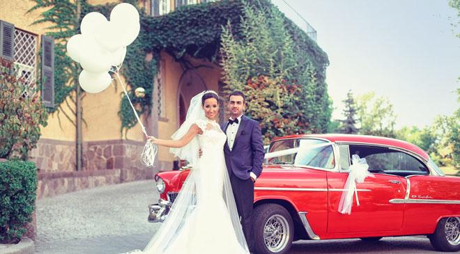 vintage düğün arabası