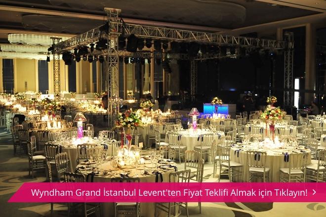 Wyndham Grand İstanbul Levent balo salonu ve masa düzeni.