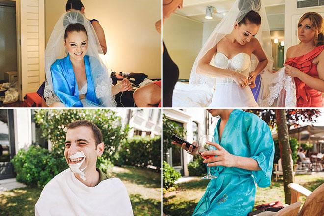 Düğün hazırlıkları sırasında gelin ve damat pozları