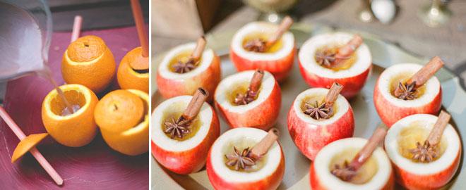 kış düğünleri için portakal ve elmadan bardaklar
