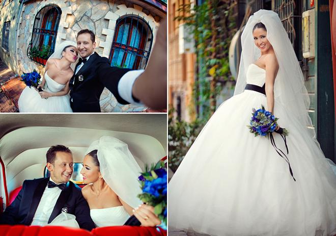 2 - Gelin ve damadın arabada ve mekanda çekilmiş düğün fotoğrafları