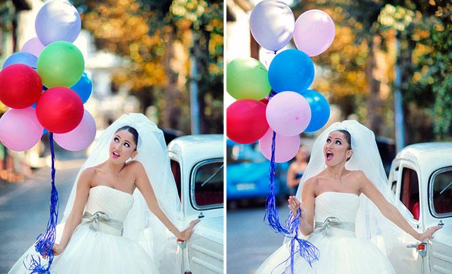 6 - Balonlarla çekilmiş gelin dış çekim düğün fotoğrafları
