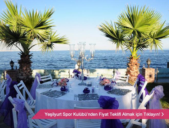 yesilyurt_spor_kulubu - Denize nazır düğün mekanı masa ve manzara örneği