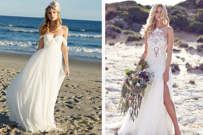 plaj düğünü gelinlik
