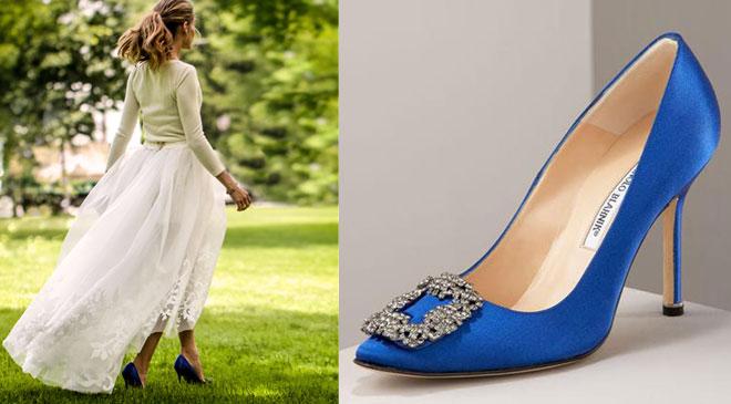 Olivia Palermo'nun gelinliği ve mavi gelin ayakkabıları