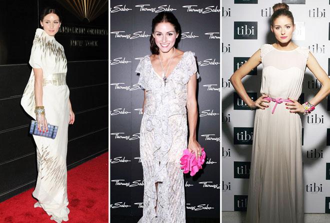 Olivia Palermo'nun davetlerde tercih ettiği beyaz elbiseler