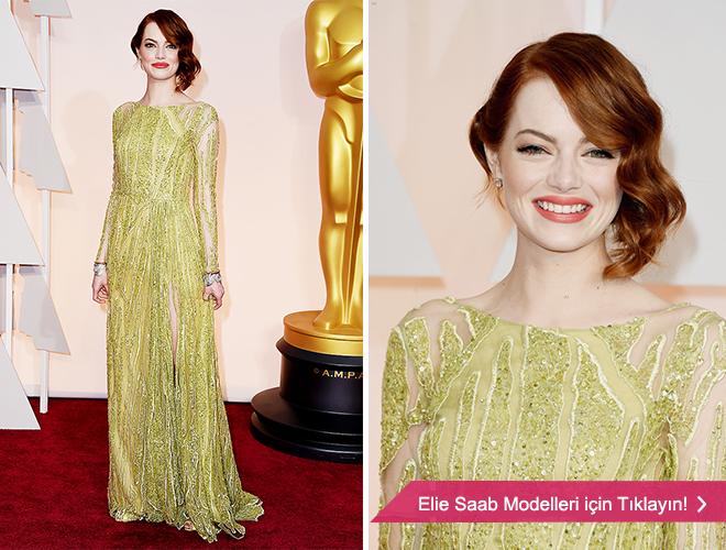 eliesaab - Emma Stone ve açık yeşil abiye modeli.