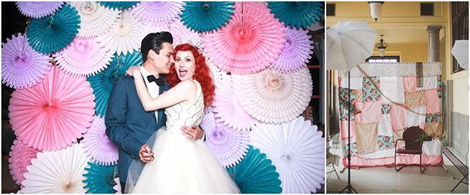 Kumaş ve kağıtlarla stüdyoda çekilebileceğiniz düğün fotoğrafları
