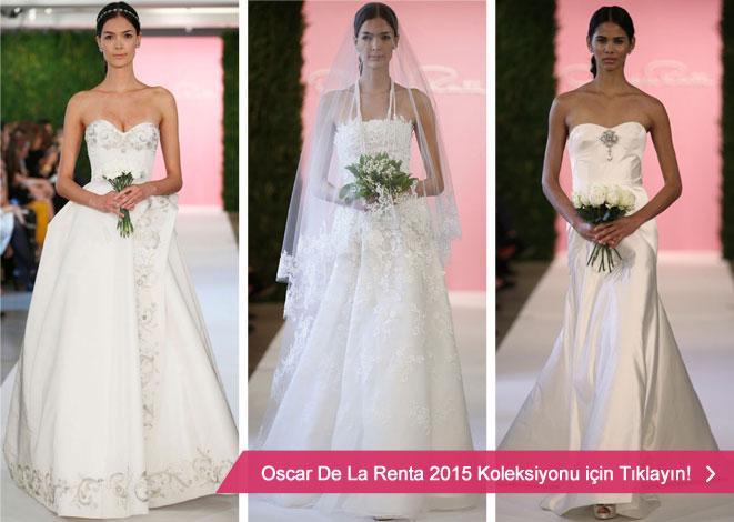2015 Oscar De La Renta gelinlik kreasyonu ve straplez gelinlik modelleri