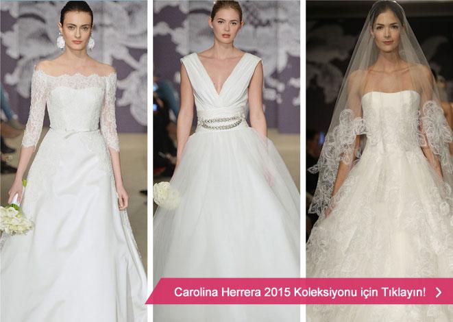 Carolina Herrera 2015 gelinlik kreasyonu ve kabarık gelinlik modelleri