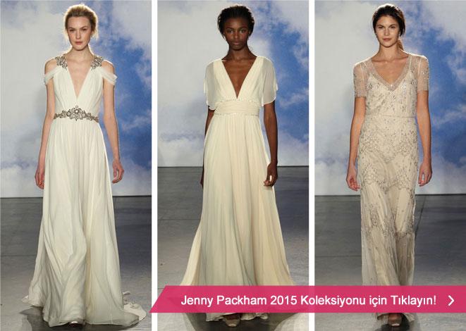 Jenny Packham 2015 gelinlik kreasyonu ve derin yaka dekolteli gelinlikler