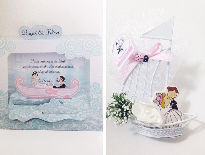 Bunun üzerine davetiyemizi de nikah şekerimizi de tekne konseptli seçtik.