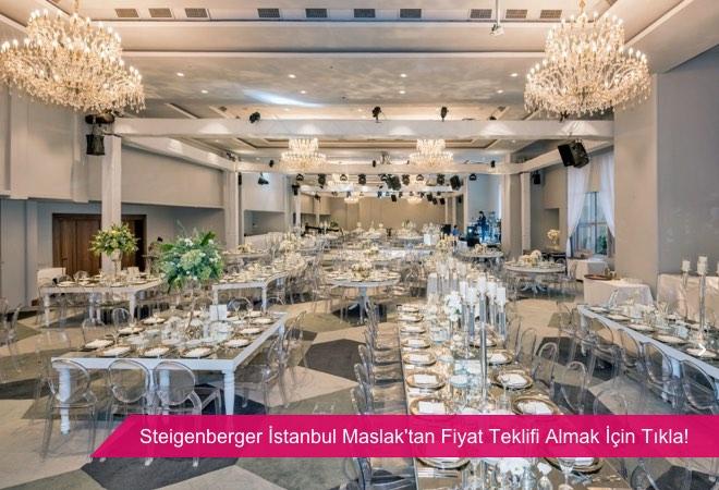 Steigenberger İstanbul Maslak, kolonsuz, geniş kapasiteli kapalı düğün balo salonu.
