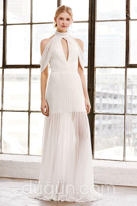 b330d45f1cd75 Hakim Yakalı Gelinlik Elbise Modeli