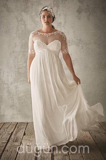 56bb5c1ae87ec Sade ve Elegan: Büyük Beden Nikah Elbisesi Modelleri